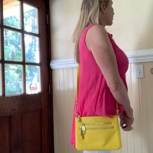 COLE HAAN  Yellow Leather Crossbody  Purse